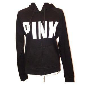 Victoria's Secret PINK Zip-Up Hoodie Sweater Black